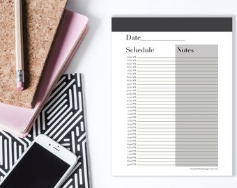 Printable Daily Planner, Digital Planner, Daily Schedule PDF, Grayscale, Black and White