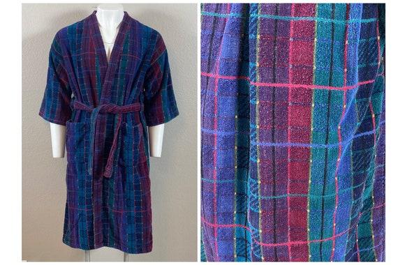 Vintage 80s Terry Cloth Robe // Bath Robe // Pocke