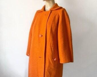 Stunning Vintage 1960s Orange Wool Overcoat