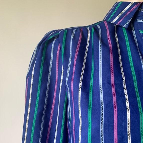 70's Long Sleeved Stripped Shirt Dress - image 5