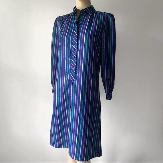 70's Long Sleeved Stripped Shirt Dress - image 1