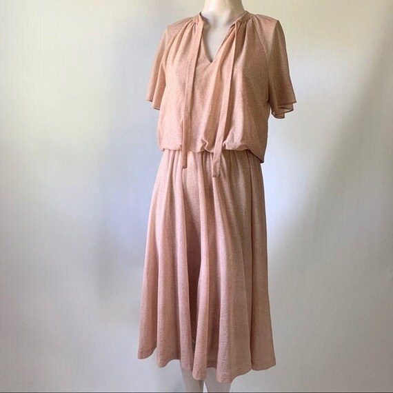 Sue Brett Flutter Sleeve Dress w/ Cinched Waist