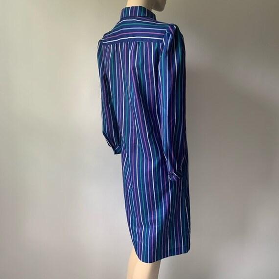 70's Long Sleeved Stripped Shirt Dress - image 4
