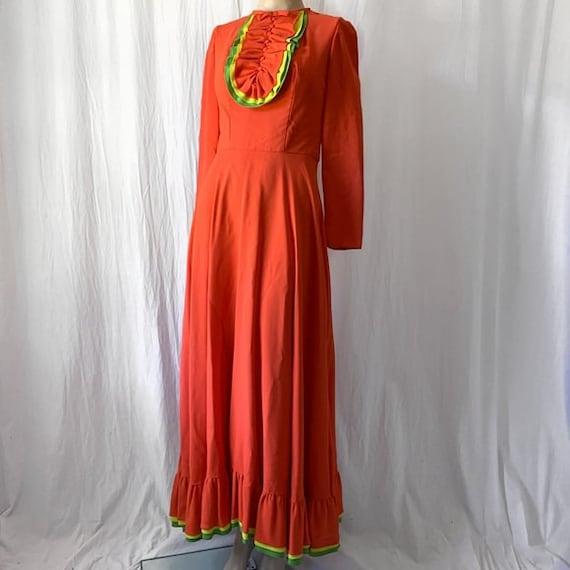 1960's Emma Domb Long Sleeve Maxi Dress