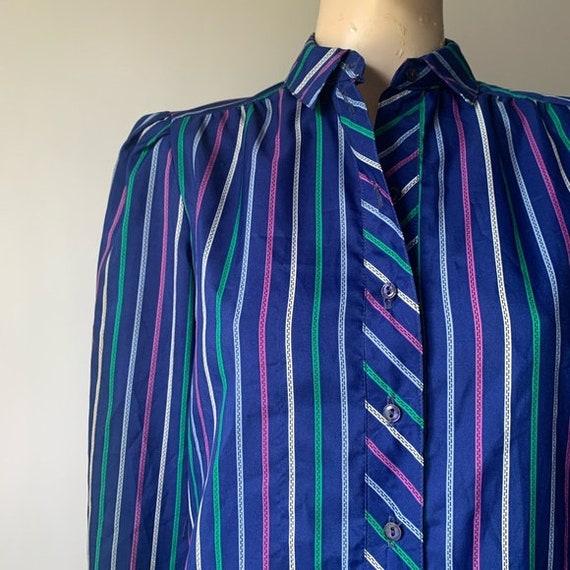 70's Long Sleeved Stripped Shirt Dress - image 2