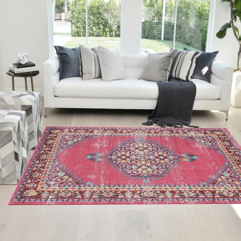 Rugs 8\u2019x 10\u2019 Bohemian Oriental Turkish Distressed color Vintage Area Rug 5\u2019 x 7\u2019 Pink Cherry Multi