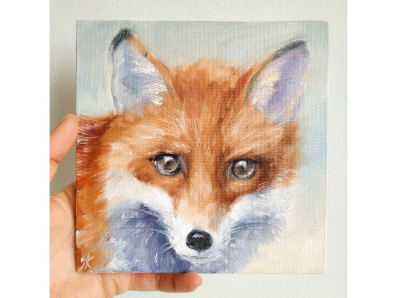 Fox painting Original red fox wall art on canvas 6 by 6