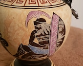 Classical Greek Amphora (reproduction), Handmade Hand Painted in Greece by Vayia Nos, Trojan War, Achilles wounded in heel