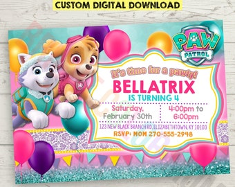 Custom Personalized Paw Patrol Birthday Invitation for Girls | Printable Paw Patrol Invitations | Skye Everest Paw Patrol Party Invite