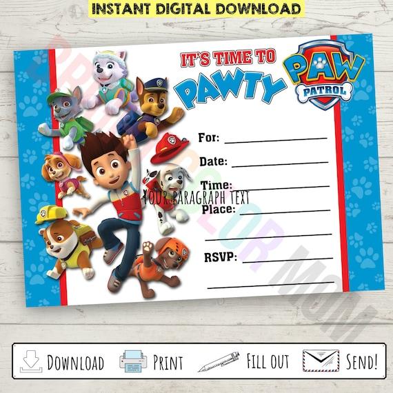 paw patrol birthday invitation printable paw patrol birthday party invite instant download blank printable paw patrol invitation