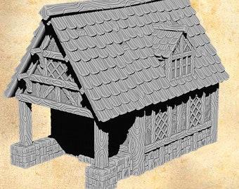 3D Printed PLA Plastic Easefare Medieval Terrain Large House Style B