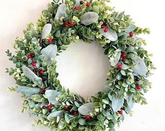 Winter Berry Wreath, Winter Wreath, Eucalyptus Wreath, Eucalyptus and Lambs Ear Wreath