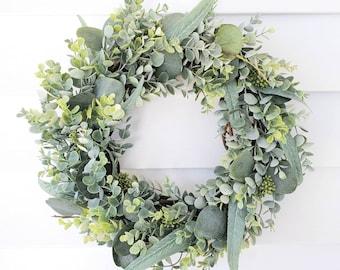 Mixed Eucalyptus Wreath, Year Round Wreath, Indoor Wreath, Farmhouse Wreath, Greenery Wreath
