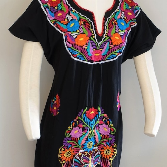 Vintage Mexican Cotton Dress Women's Hand Embroide