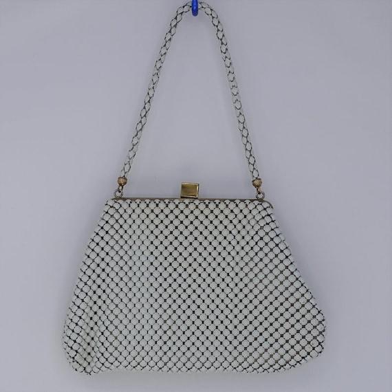 1960s Whiting & Davis White Mini Mesh Bag. Vintage