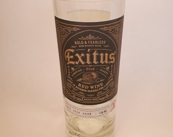 Exitus Bourbon Barrel Red Wine 2016 Hand Cut Upcycled Wine Bottle Candle - Choose Your Scent