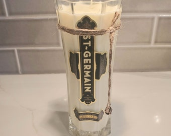 St. Germain 750ml Hand Cut Upcycled Liquor Bottle Candle - Scent - Grapefruit and Mint