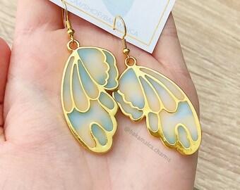 fantasy earrings green color Butterfly Wings Earrings blue surgery steel Butterfly Wings Jewelry crystal resin colorful earrings