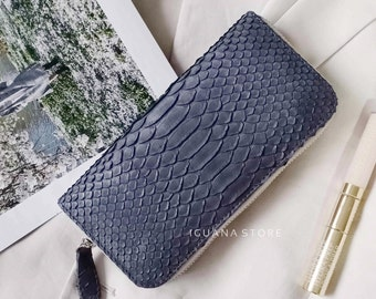Snake Skin Bifold purse,Cardholder credit cards Genuine Python leather slim unisex green wallet gift for her,gift for him Christmas Gift