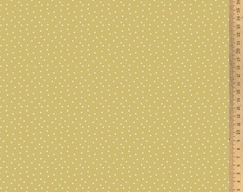 Acufactum cotton fabric polka dots ochre-white 145 cm wide 0.5 m
