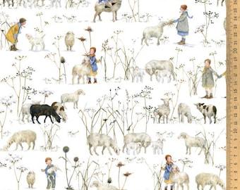 Acufactum cotton fabric winter kids + sheep 145 cm wide design Daniela Drescher