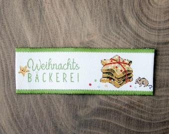 Weaving label Christmas bakery Design Daniela Drescher Size 2 x 5,7 cm