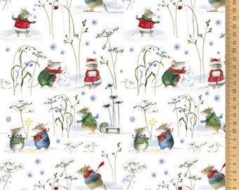 Acufactum cotton fabric winter mice 145 cm wide 0.5 m Design Daniela Drescher