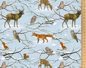 BW fabric winter animals 145 cm wide Daniela Drescher Acufactum