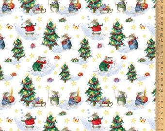 Acufactum cotton fabric Christmas mice 145 cm wide 0.5 m Design Daniela Drescher