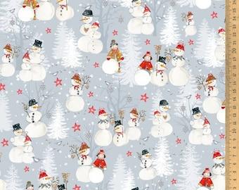 Acufactum Cotton Fabric Snowmen 145 cm wide 0.5 m Design Daniela Drescher
