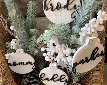 Modern Farmhouse Christmas Tree Ornaments Set of Ornaments Pet Name Wood Ornament Black and White Ornaments