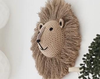 Medium Lion - Crochet Animal Head Wall Hanging