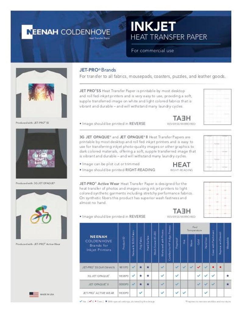 Jet Pro SS Soft Stretch Neenah Coldenhove\u00a0Inkjet Heat Transfer Paper\u00a08.5 x 11 100 Sheets\u00a0