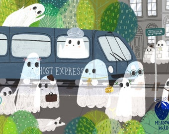 "Ghost Train 8x10"" Art Print Halloween Spooky Kids Art Colorful Cute Baby Art"