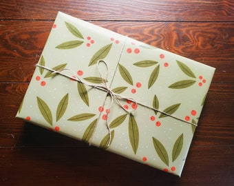 Gift Wrap Wrapping Paper Christmas Birthday Gift Wrap Handmade Pink 12 Days of Christmas Holly Floral Striped Holiday 3 Sheets