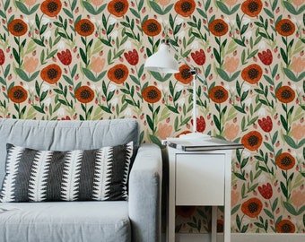 Peel and Stick Wallpaper Removable Floral Poppy Strawberry Fabric Canvas Wallpaper