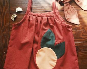 Children's Tank Top Toddler Handmade Clothes Gathered Top Rust Orange Cotton Tank