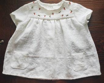 Children's  Strawberry Embroidered Toddler T-Shirt Handmade Clothes  Girls' Soft White Linen T-Shirt, Strawberry Embroidery