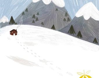 "Little Mountain 8x10"" Art Print Snow Winter Cute Kids Art Baby Nursery Art"