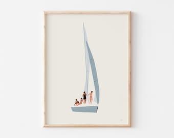 Sailboat Art Print, Seaside Beach Art, Nautical Artwork, Coastal Nursery Decor, Minimalist Artwork, Beach Decor, Bathroom Wall Art