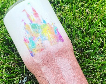 Castle Glitter Tumbler, Disney Castle Inspired Tumbler, Princess Castle Tumbler