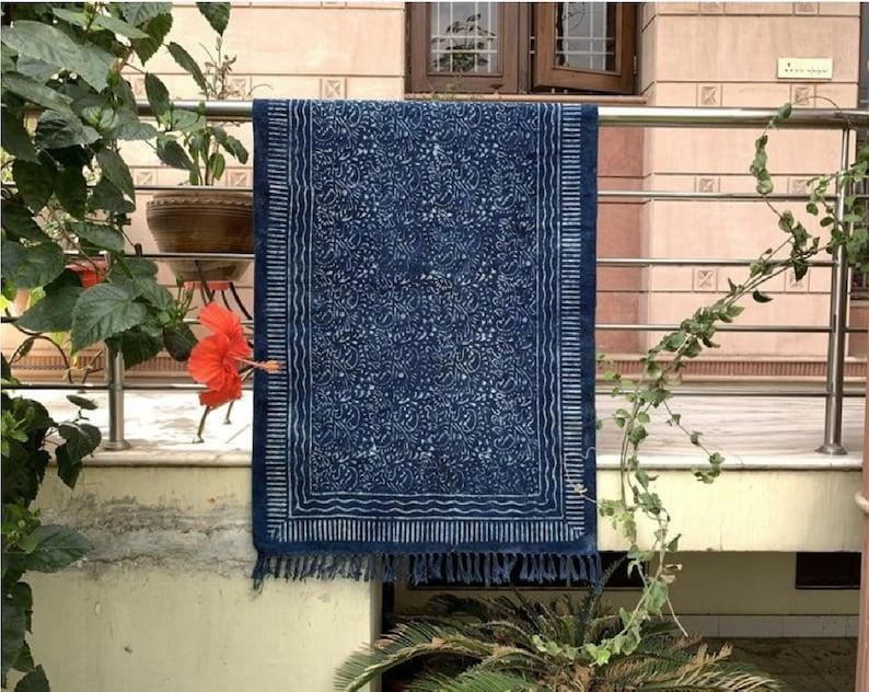 Indigo Blue Dhurrie Hand Block Printed Mudcloth Rug Handmade Woven Floor Fringe Carpet Bohemian Handloom Textile Wedding Gifts for Him