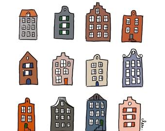 "Carte postale ""Houses of Amsterdam"""