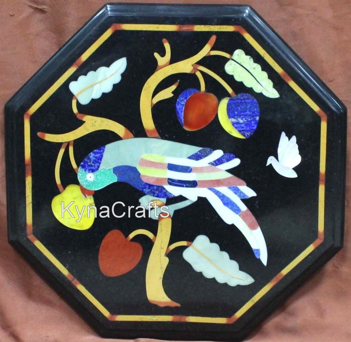 12 x 12 Inches Coffee Table Top with Pietra Dura Art | Semi Precious Stones Inlay Work End Table | for Lawn and Garden |