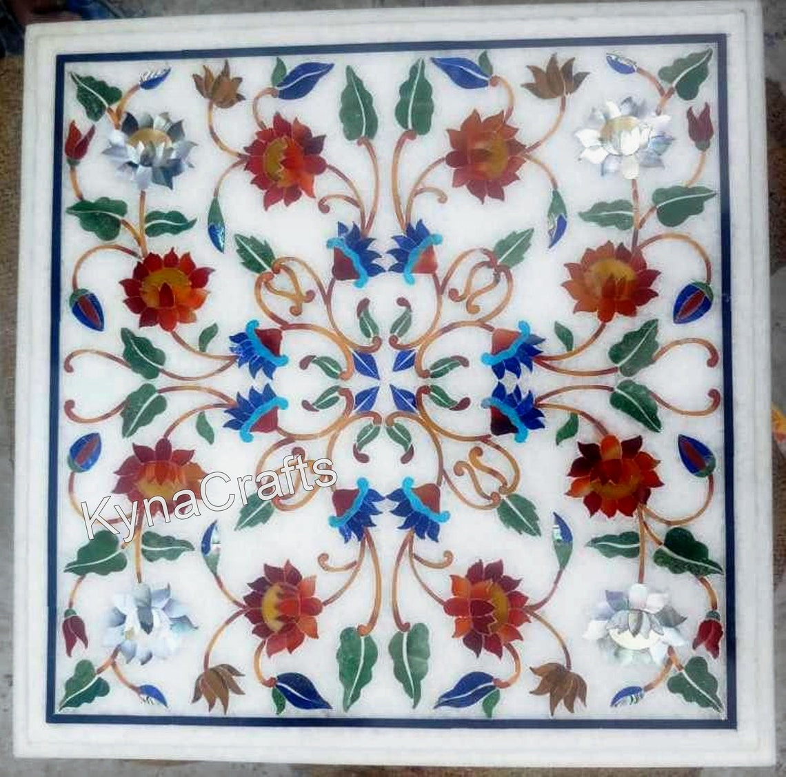 Multi Color Stones Inlaid Table Top | Beautiful Pattern of Coffee Table | for Restaurant and Bar | from India in 12 x 12 Inches
