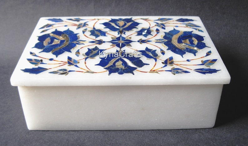 Rectangle Shape White Marble Inlay Work Trinket Box  Lapis Lazuli Stone Jewelry Box for Multi Purpose Use in 6 x 4 x 2.5 Inches from India