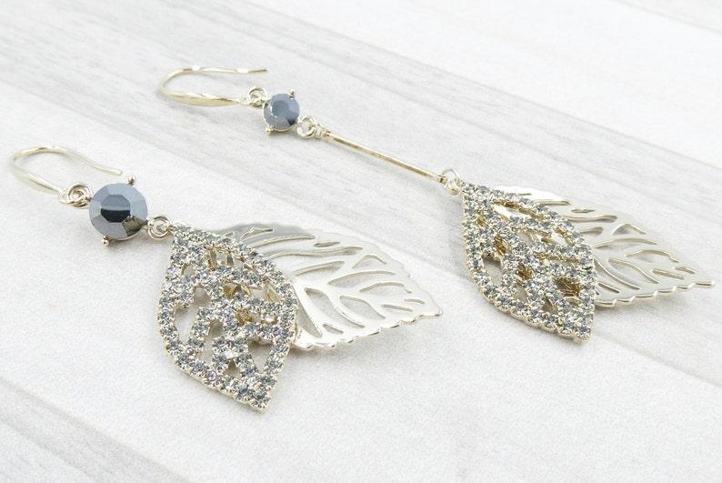 Sparkling Leaf Earrings Leaf CZ Long Dangle Earrings Gift for Her Leaf Gold Hook Earrings Party Earrings Christmas Gift