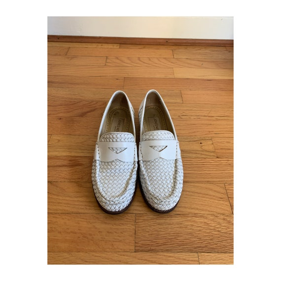 Woven White Leather Loafers Size 6