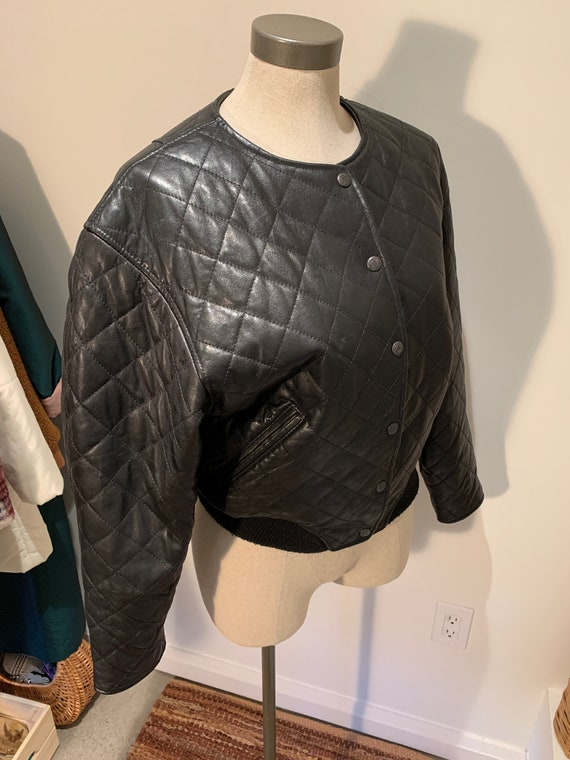 Vintage Leather Quilted Jacket Size XS