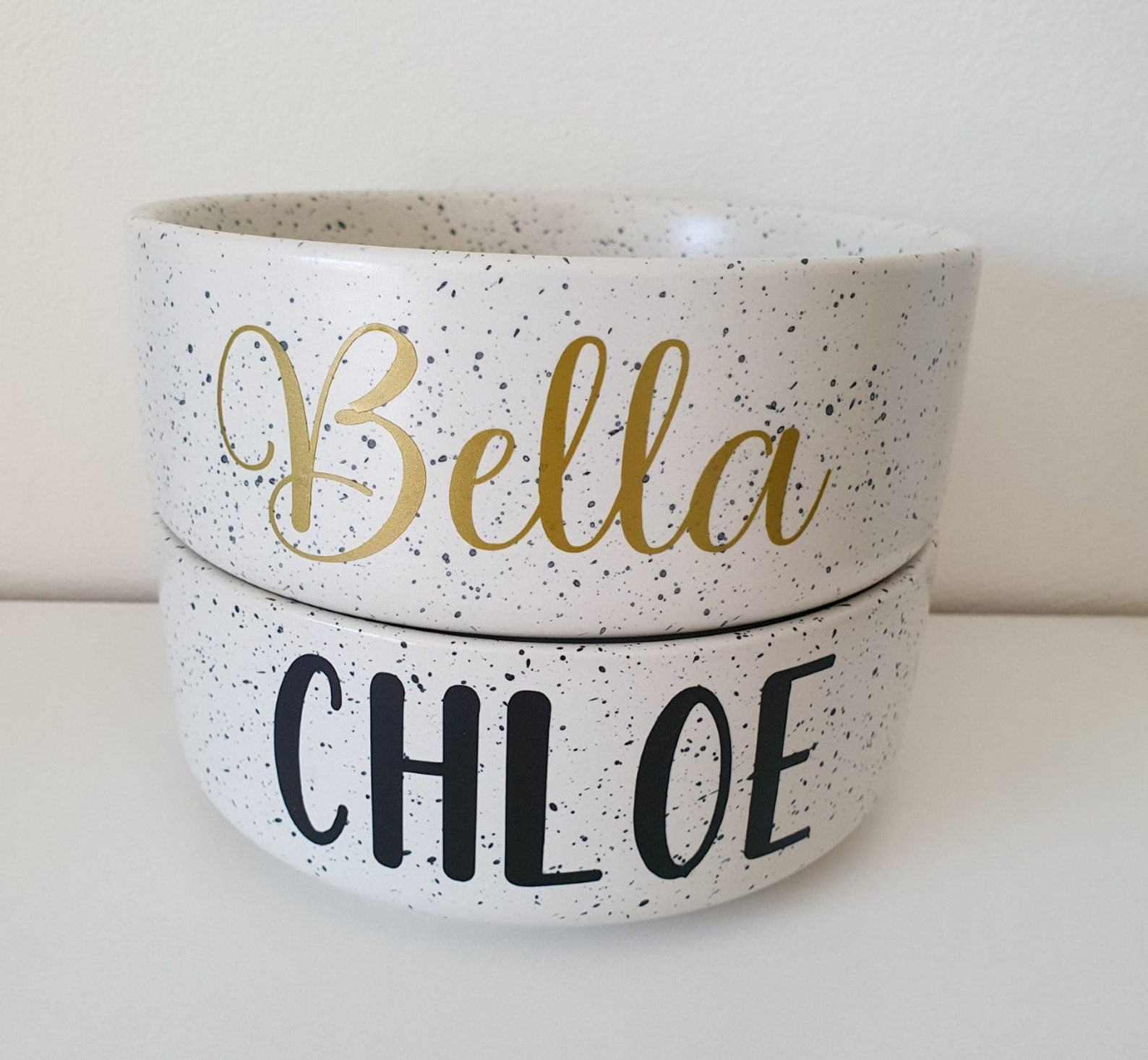 Two personalised dog bowls